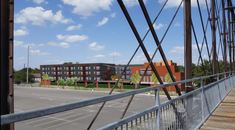 """This rendering shows """"The Bridge"""" mixed-use project as seen from the Hays Street Bridge."""