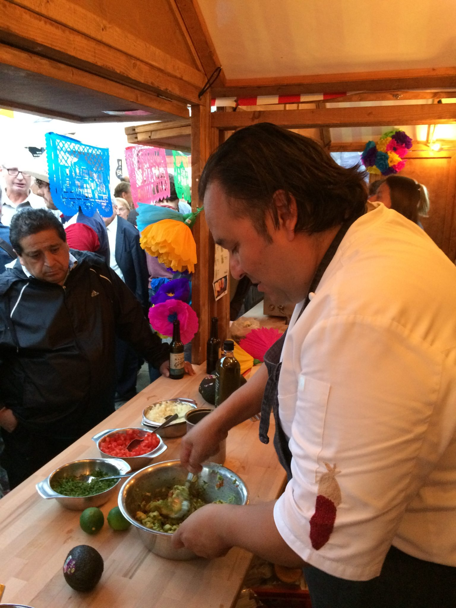 Chef Johnny Hernandez prepares guacamole at Darmstadt's Heinerfest in the summer of 2017.