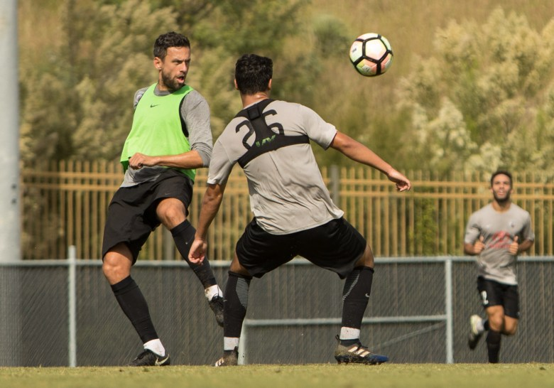 San Antonio FC's Ryan Roushandel kicks the soccer ball during practice at S.T.A.R. Soccer Complex.