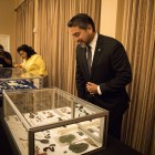 (From left) Councilwoman Rebecca Viagran (D3) and Councilman Roberto Treviño unveil artifacts at the announcement of Texas Archaeology Month at Alamo Hall.