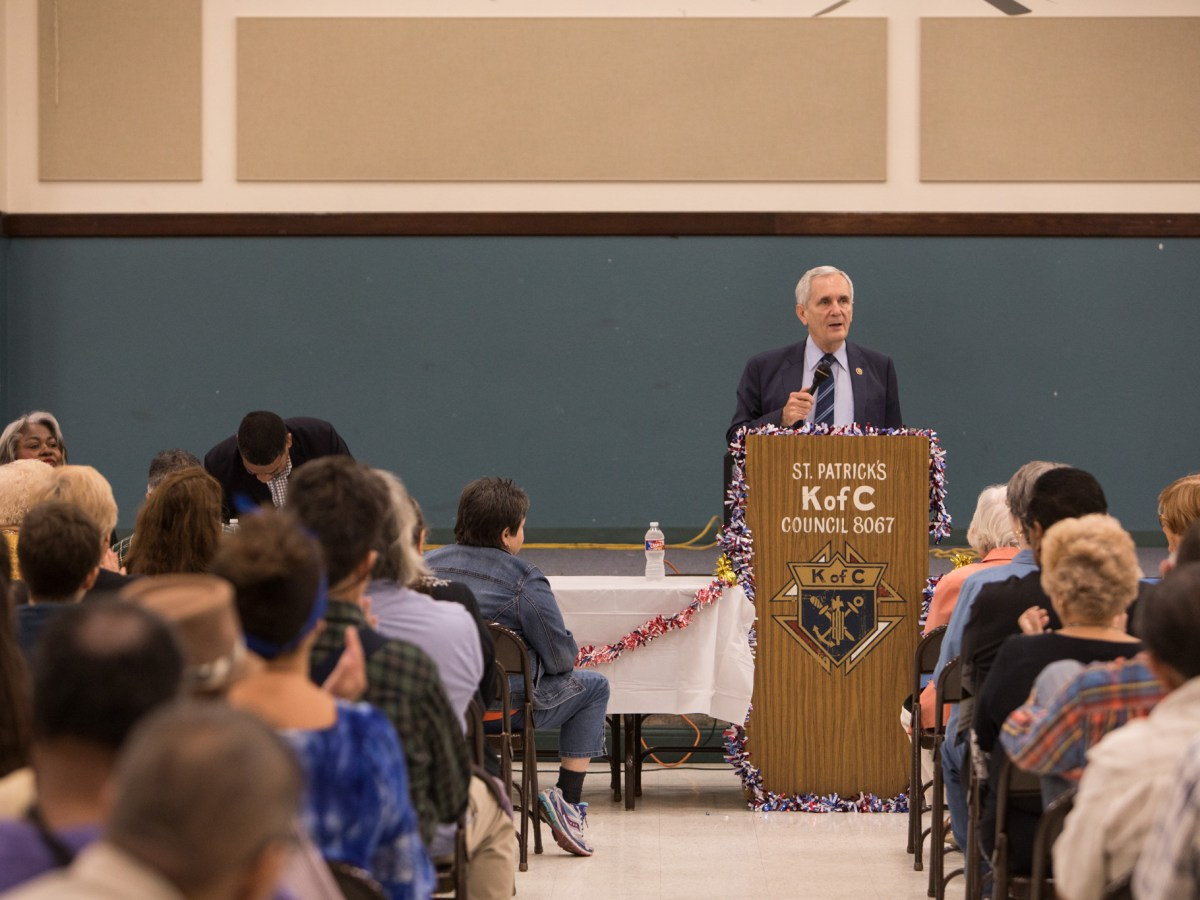 U.S. Rep Lloyd Doggett (D-Texas) addresses the community at a town hall meeting with the Government Hill Alliance Neighborhood Association at St. Patrick Catholic Church.