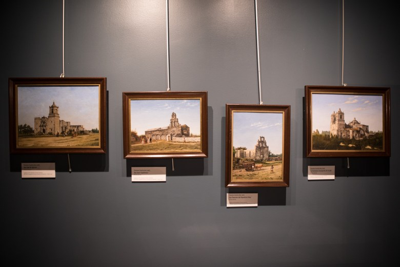 The four missions painted by Theodore Gentilz are displayed in the Presidio Gallery in the Bexar County Archives Building.