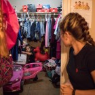 Briana Zapata, 17, peeks into her closet as her daughter Natalie, 3, decides what to play at the SJRC Texas Pregnant Parenting Teen Program.