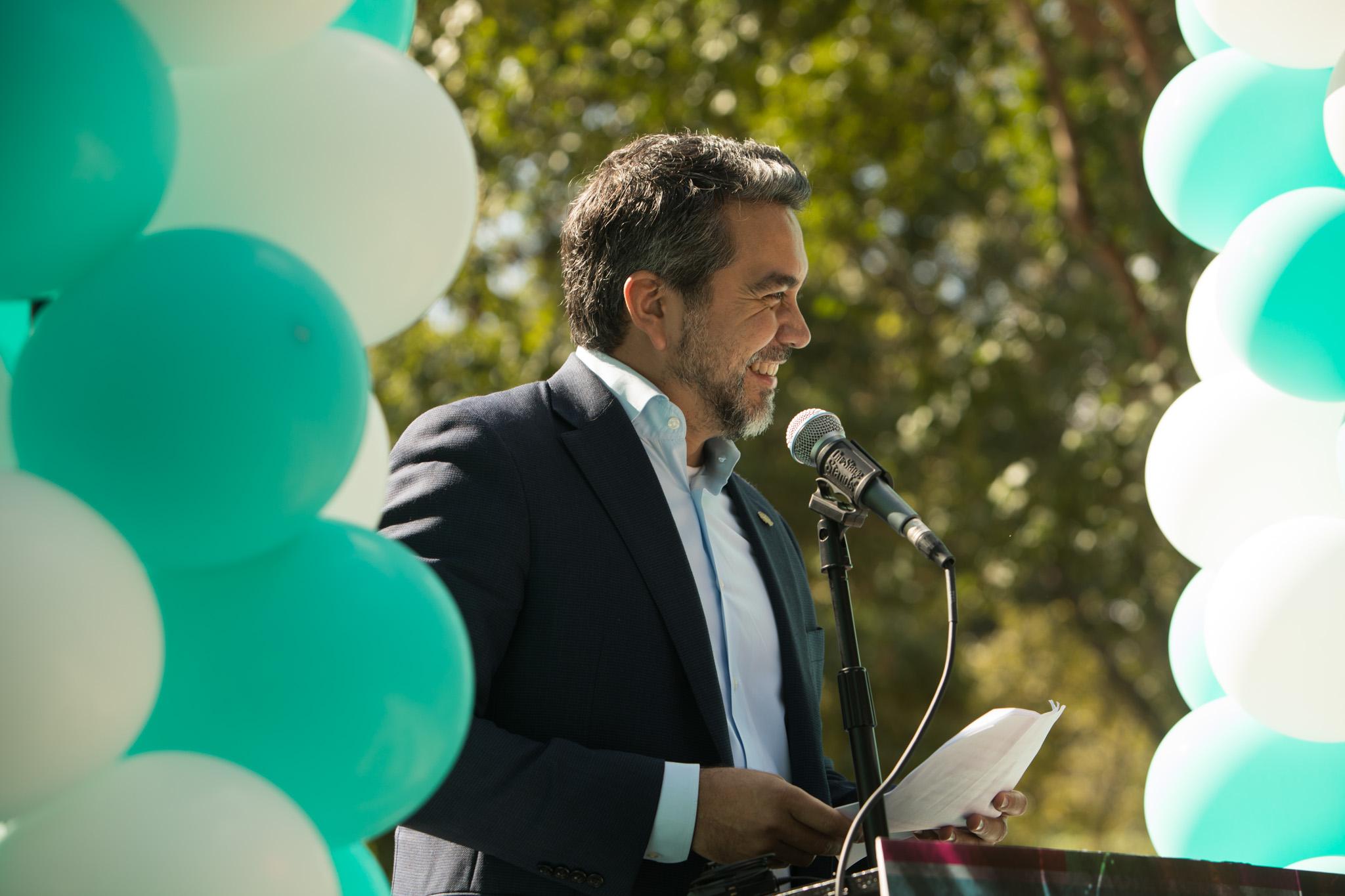 Councilman Roberto Treviño (D1) speaks at the Hemisfair 50th Anniversary Announcement Press Event.