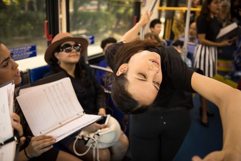 "A dancer performs in ""VIA VIVA Cultural Adventure"" aboard the VIA VIVA Culture Bus."