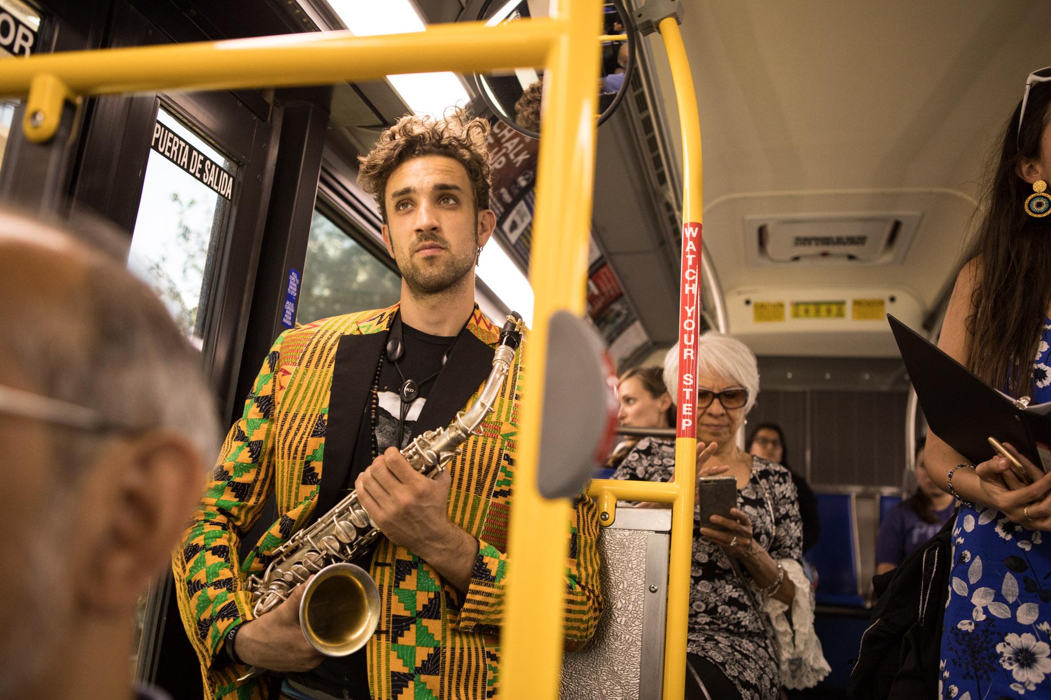 "Adam Tutor waits to perform a solo in the performance ""VIA VIVA Cultural Adventure"" aboard the VIA VIVA Culture Bus."