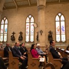 A crowd gathers for the On the Way -- ¡Ándale! capital campaign announcement at San Fernando Cathedral.