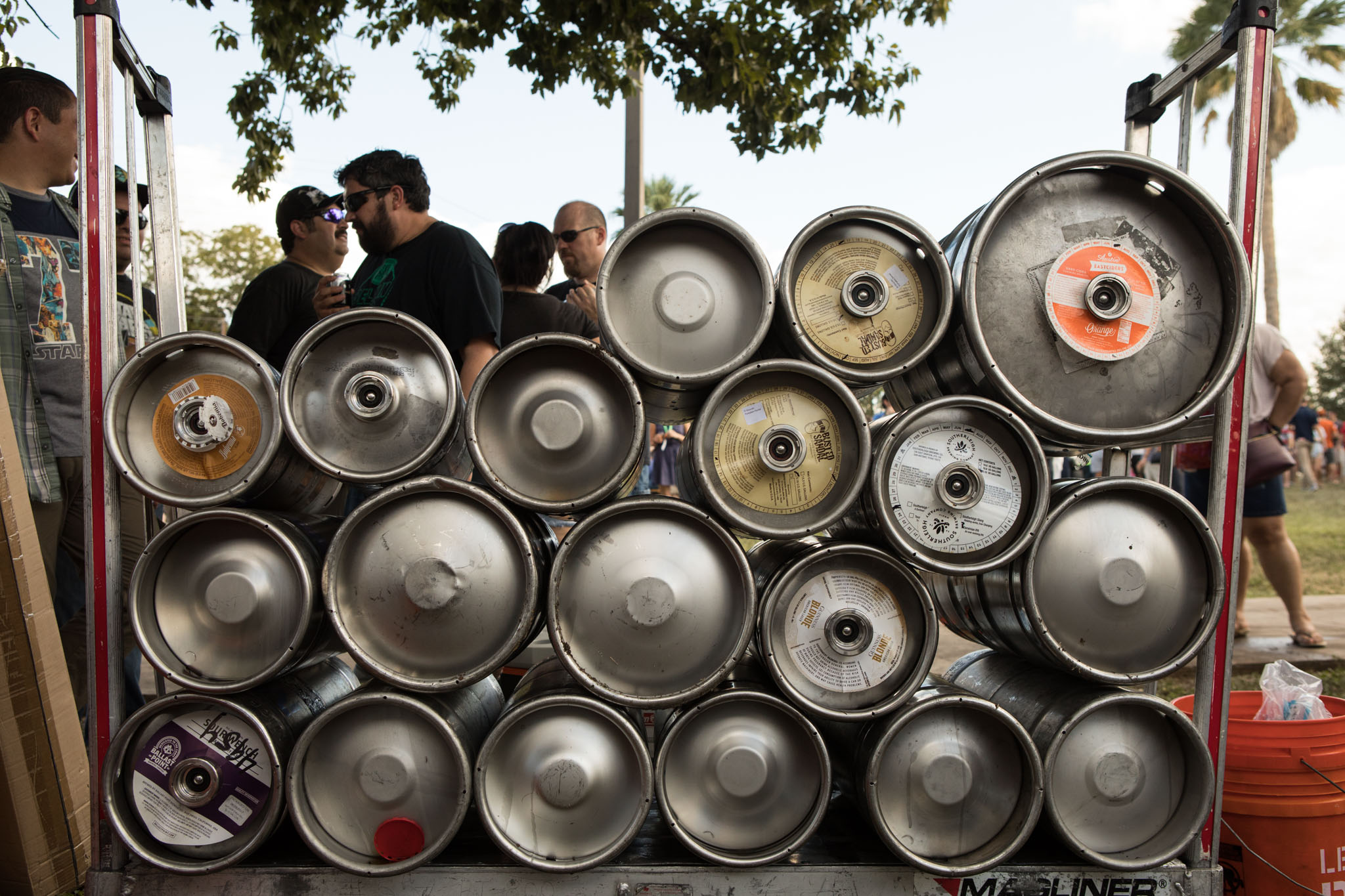 Kegs are stacked on top of one another at the San Antonio Beer Festival.