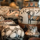 Robert Tenorio creates Kewa pottery to sell at the 4th Annual Yanaguana Indian Arts Market at the Briscoe Museum.