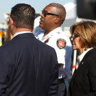 (from left) Deputy City Manager Erik Walsh, San Antonio Fire Department Chief Charles Hood, and City Manager Sheryl Sculley watch as the mass casualty exercise unfolds at the San Antonio International Airport.