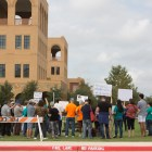 DACA supporters assemble in front of Patriots' Casa at Texas A&M San Antonio. The location of U.S. Representative Will Hurd's district office.