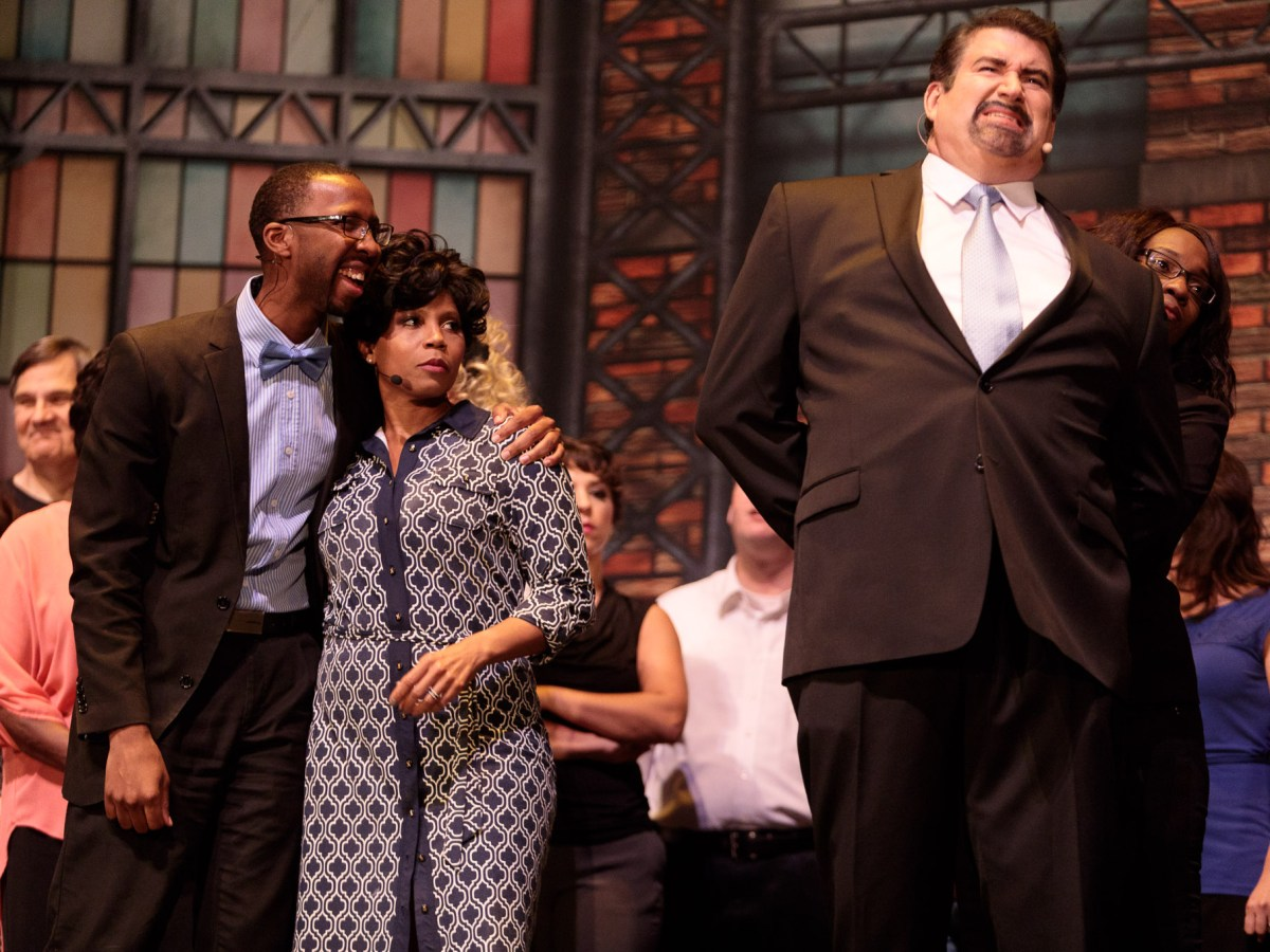 Lee Cusenbary as Jack Baldwin is arrested by the FBI as Walter Sanders as Walter Decent and Nerryl Williams as Mrs. Decent look on during Ethics Follies.