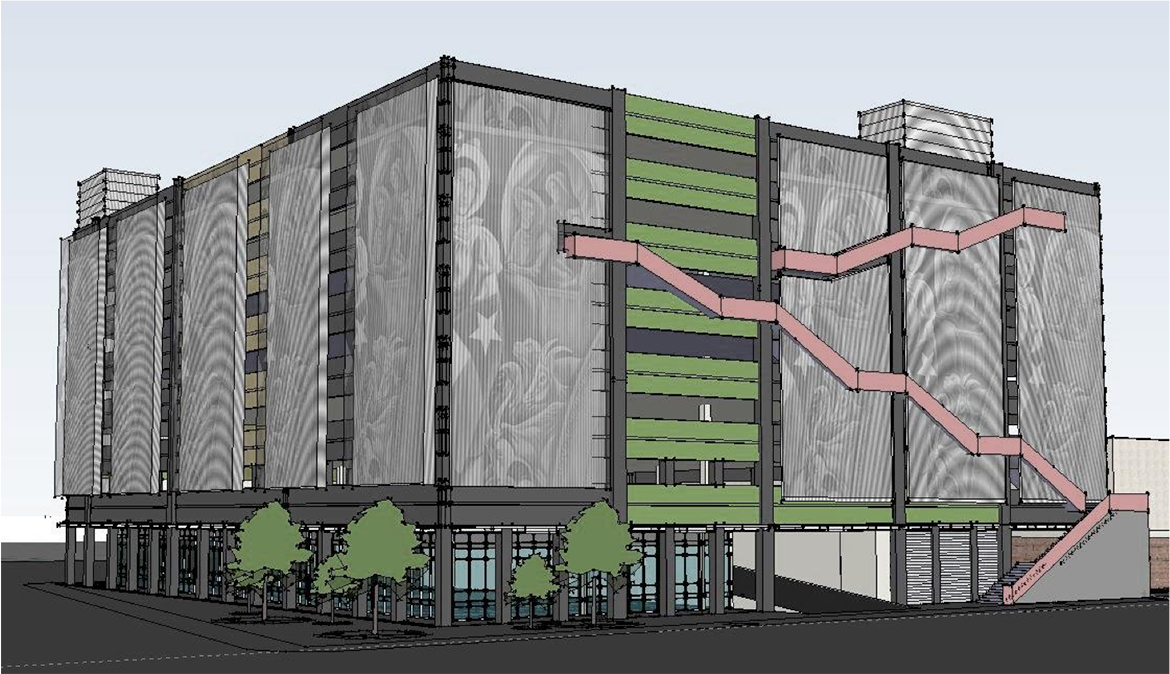 This rendering of a new downtown parking garage was shown to the Bexar County commissioners Tuesday, but staff explained that the architectural design process is still underway.