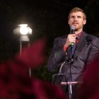 Spurs TV Analyst Matt Bonner welcomes the crowd to the 33rd Annual H-E-B Christmas Tree Lighting celebration in Travis Park.