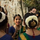 Shloka Valavalkar, 11, gives words of encouragement to her dance troupe before their performance at Arneson River Theatre during Diwali San Antonio: Festival of Lights.