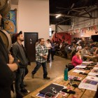 """A large crowd gathers at Freetail Brewing Co. for the Texas Music Office's """"Music Friendly Communities"""" Workshop."""