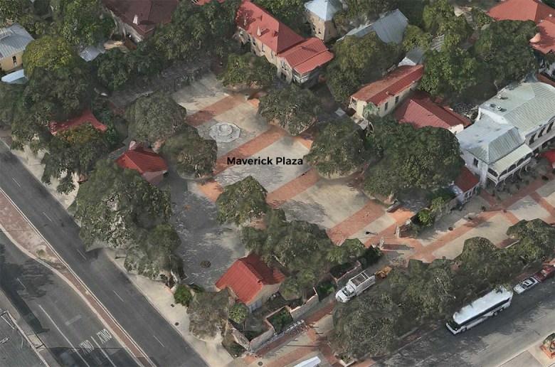 An aerial view of Maverick Plaza at La Villita.