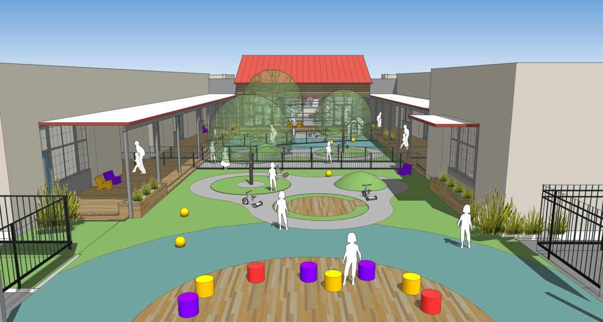 This rendering by LPA Architects shows the playground view of the new Healy-Murphy child development center.