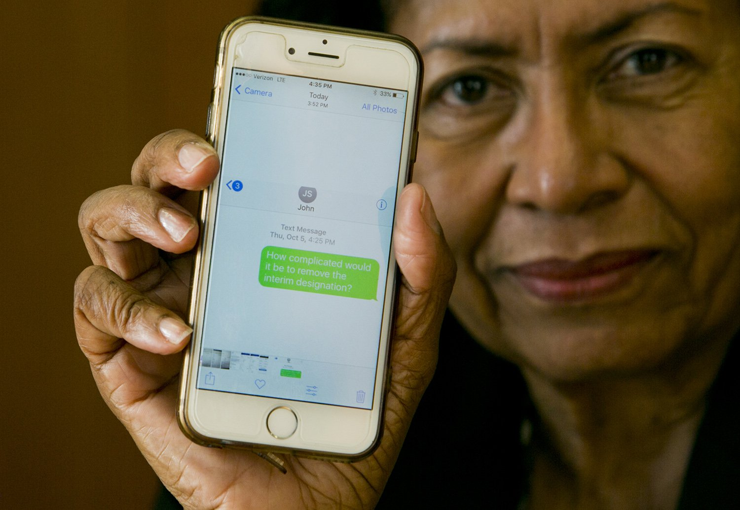"""Prairie View A&M University interim President Ruth Simmons shows a screen shot of a text message she sent in early October to Texas A&M University System Chancellor John Sharp to inquire about removing her interim designation. The message said, """"""""How complicated would it be to remove the interim designation?"""""""
