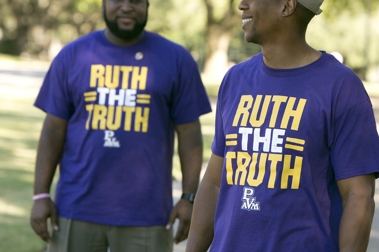 Students on the Prairie View A&M University campus wear shirts in support of the interim President Ruth Simmons, who is the sole finalist for the position of permanent president.