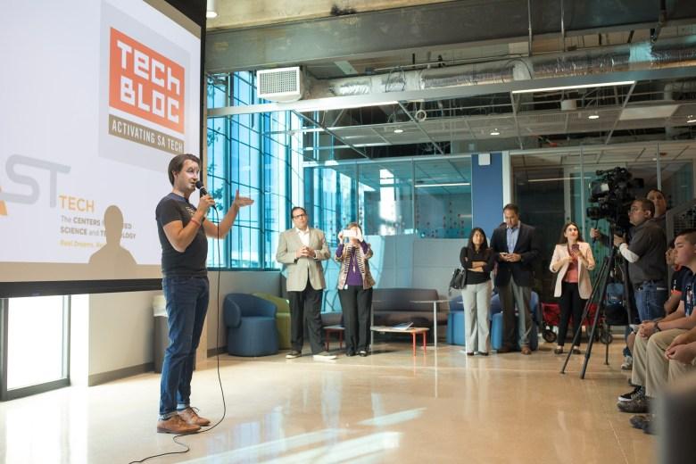 Tech Bloc CEO David Heard addresses students of CAST Tech High School.