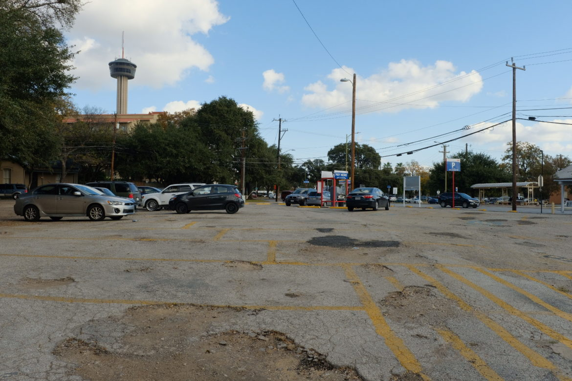 The surface parking lot at 421 S. Presa St.
