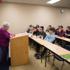 Holocaust survivor Rose Williams tells her story to students of Lady Bird Johnson High School.