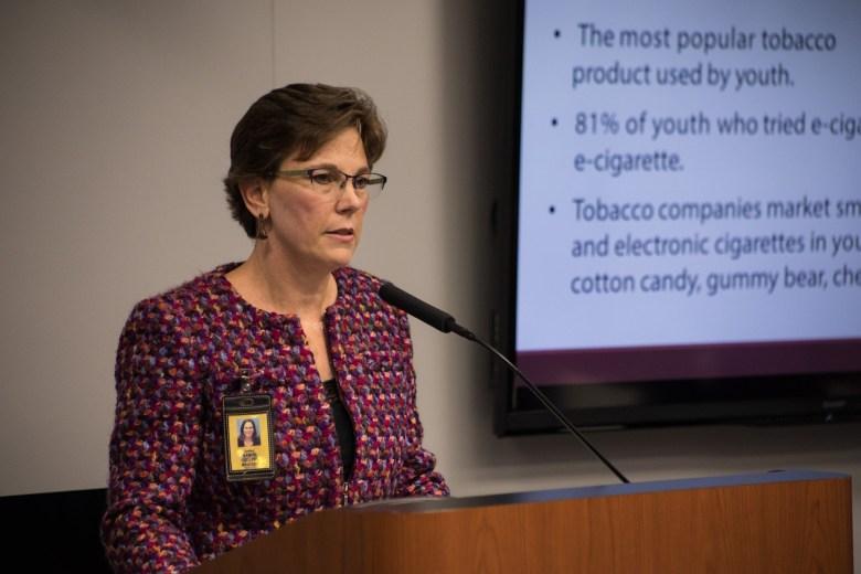 San Antonio Metropolitan Health District Director Colleen Bridger explains the Tobacco 21 proposal to city council.