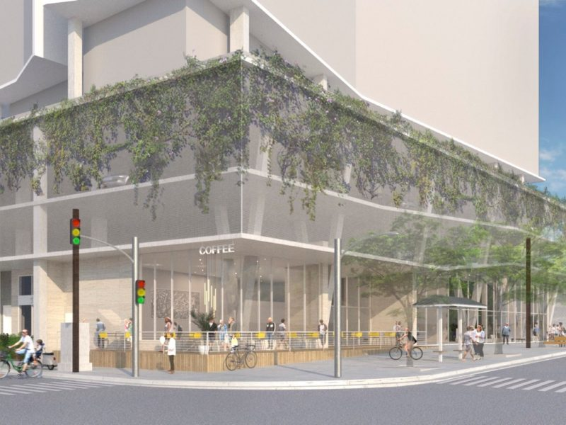 This rendering of the Durango Apartments illustrates the ground floor retail and green, living walls proposed by the developers for 421 S. Presa St.