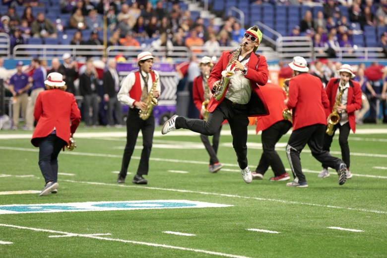 The Stanford Marching Band performs during the Valero Alamo Bowl.