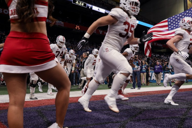 Stanford players arrive to the field during the Valero Alamo Bowl.