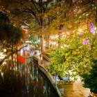 The San Antonio Riverwalk decorated for the holidays.