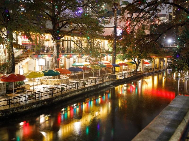 The San Antonio Riverwalk near the Alamo for the holidays.