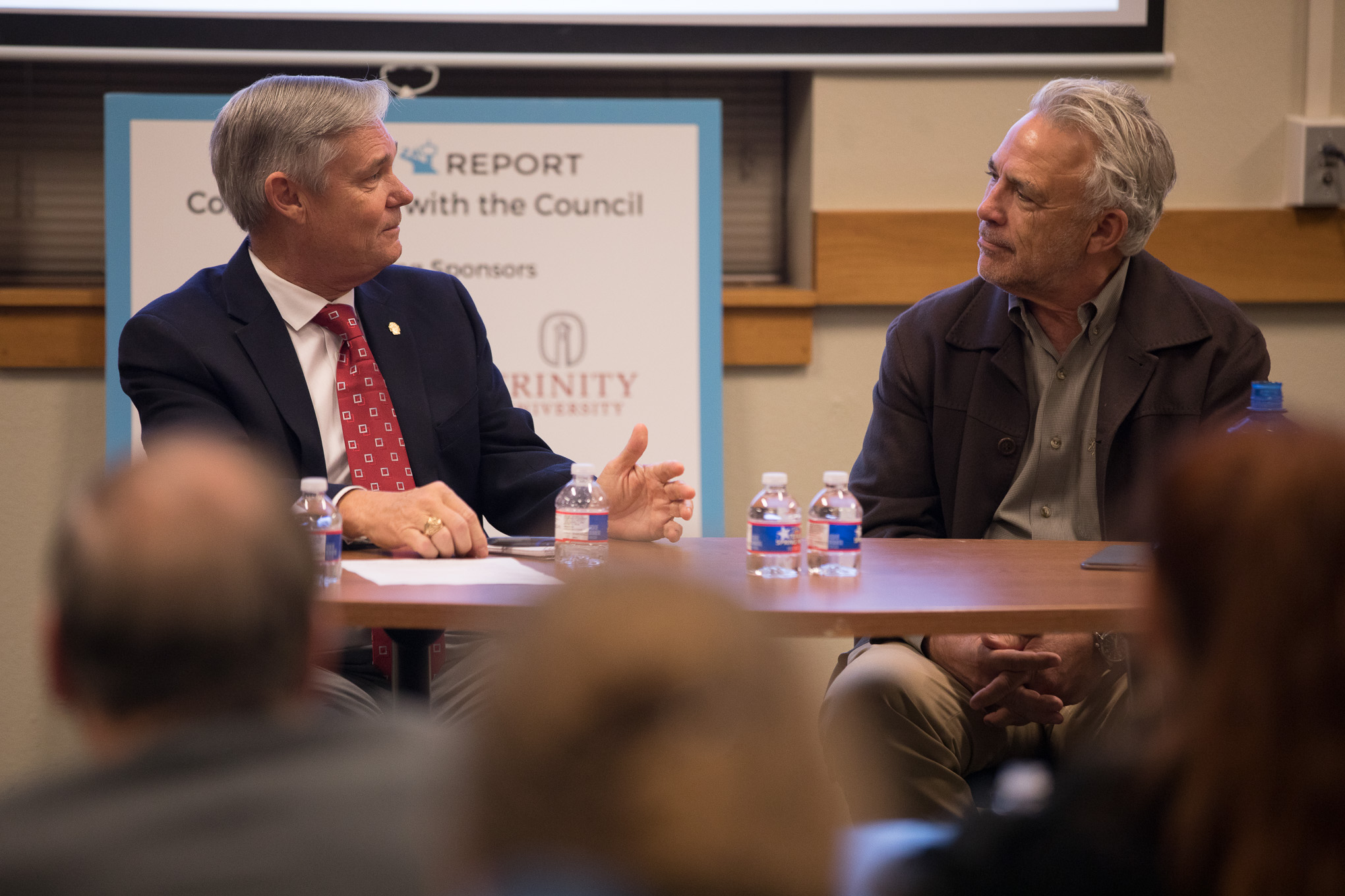District 10 Councilman Clayton Perry and Publisher of the Rivard Report Robert Rivard during 'Conversations with the Council'.