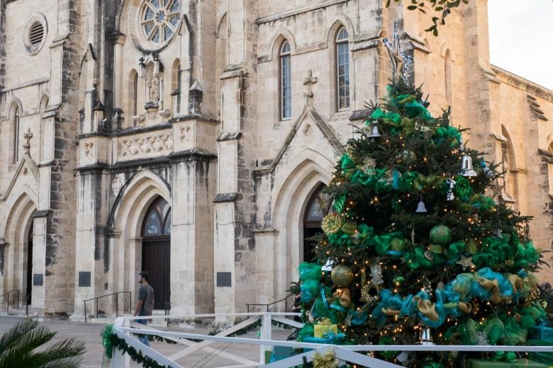 The Christmas tree at San Fernando Cathedral at Main Plaza.
