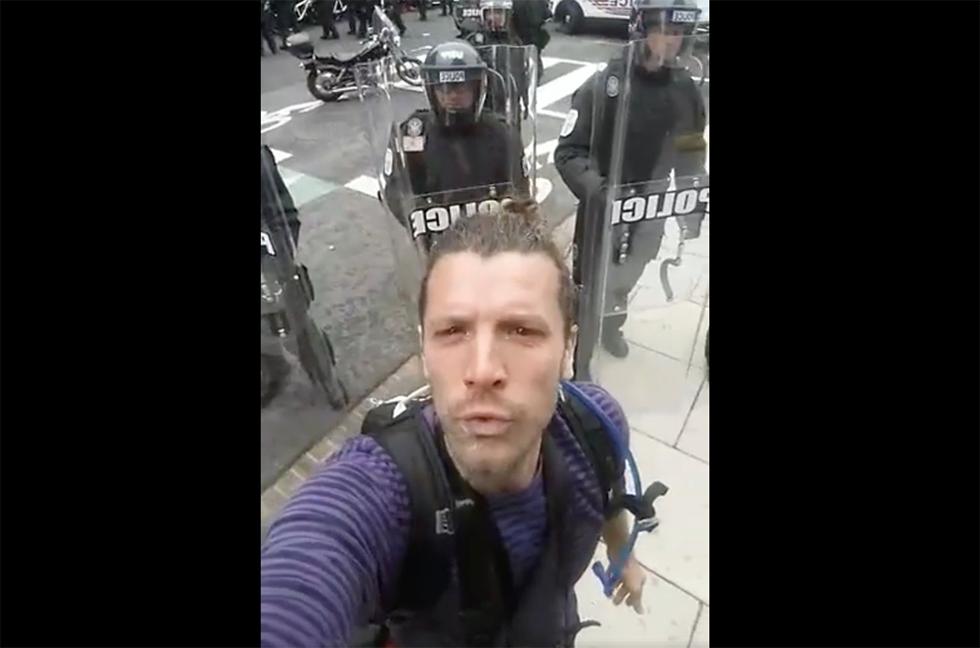 A still from the Facebook Live video Alexei Wood posted to his public profile 'Lex Shoots' on inauguration da January 20, 2016.