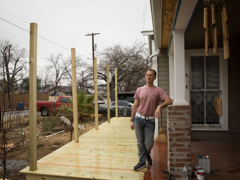 Giles Gonnsen is constructing a porch on the front of his Denver Heights home.