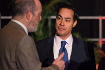 Former Mayor and U.S. HUD Secretary Julián Castro speaks with guests at the SA2020 Impact Report luncheon.