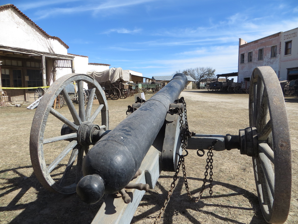 A movie prop cannon used in the making of old Westerns is placed on display at Alamo Village.