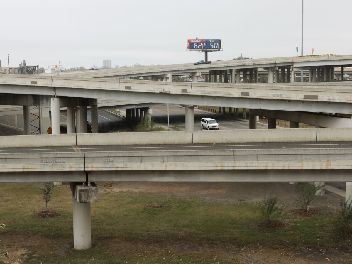 The intersection of U.S. Highway 281 and U.S. Highway 35 is empty of cars Tuesday mid-morning during inclement weather.