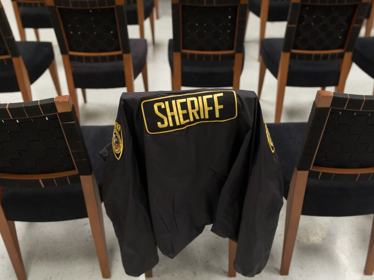 A Bexar County Sheriff Office jacket rests on an empty chair at the Bexar County Sheriff Department Training Academy.