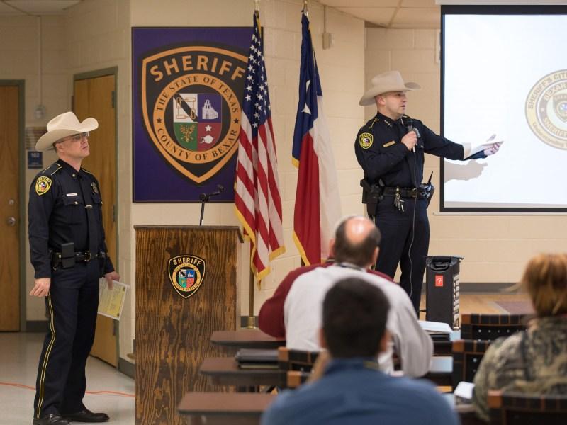 Bexar County Sheriff Javier Salazar speaks to the Sheriff's Citizen Academy.