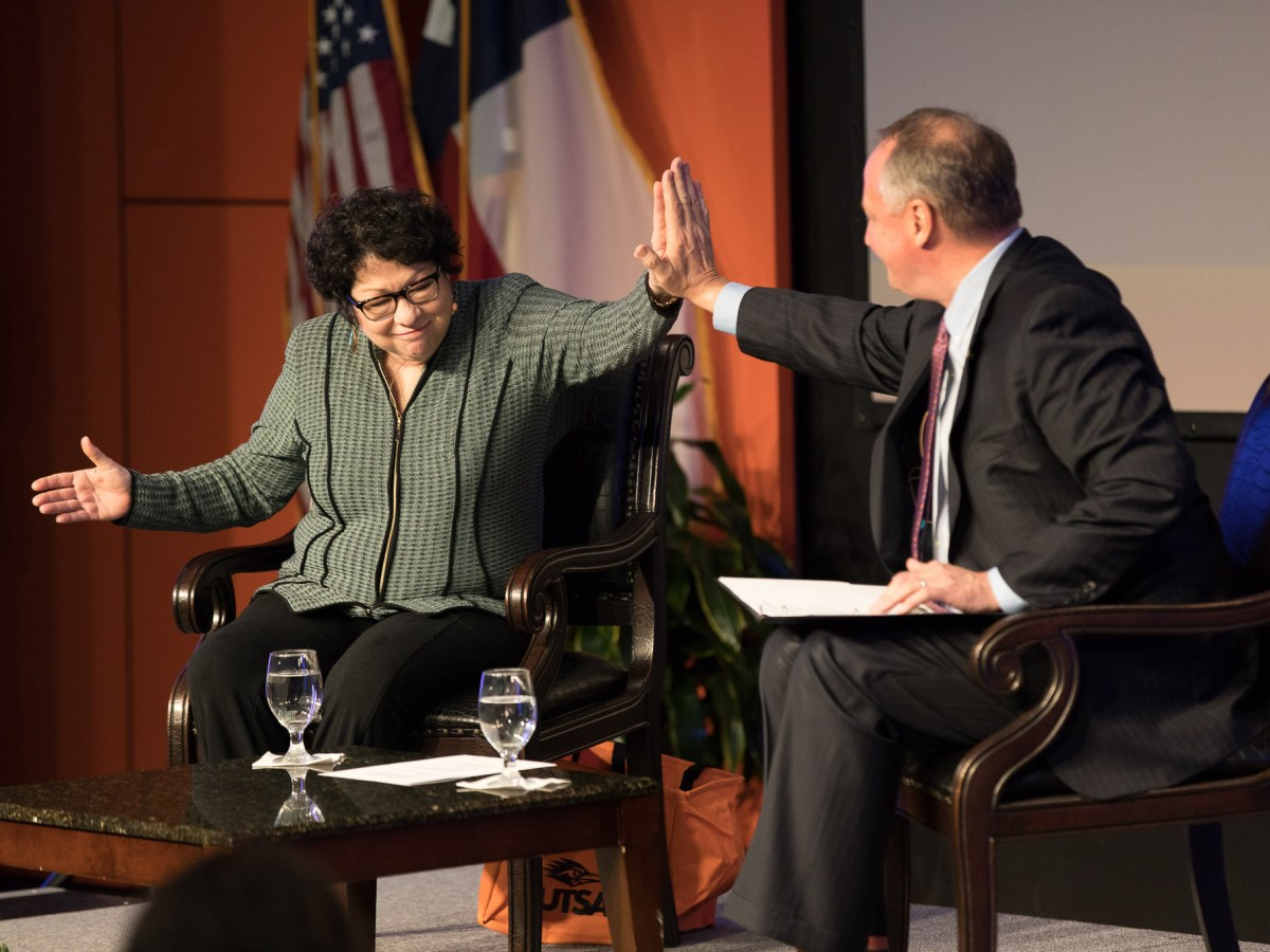 Associate Justice of the United States Supreme Court Sonia Sotomayor meets with President of UTSA Taylor Eighmy.