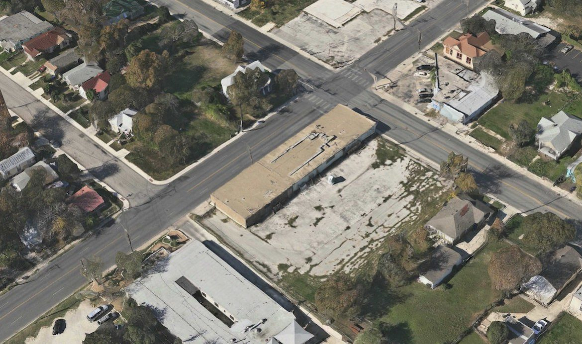 An aerial view of the property at 1602 East Houston Street.