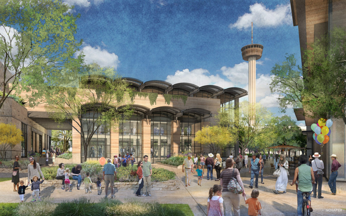 "Plans for Zachry Hospitality's development at Hemisfair include an ""urban market."""