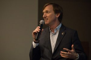 Andrew White speaks at the Democratic Primary Debate for Texas Governor at the San Antonio Public Library.
