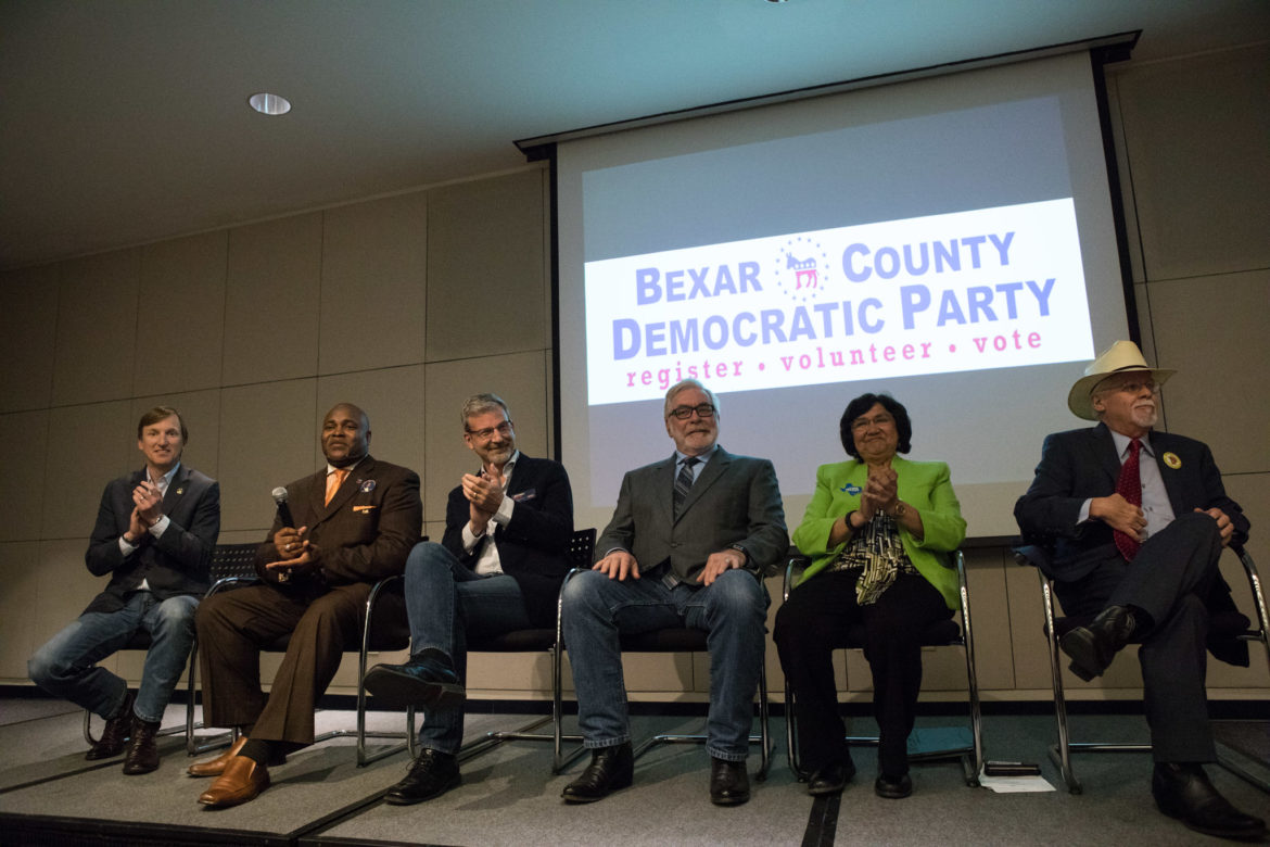 (From left) Andrew White, Cedric Davis, Sr., Jeffrey Payne, Joe Mumbach, Lupe Valdez, and Tom Wakely participate in the Democratic Primary Debate for Texas Governor at the San Antonio Public Library.