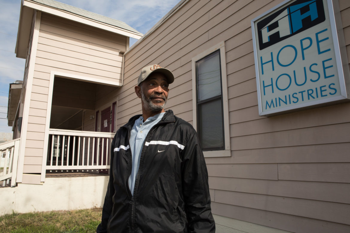 George Frederick, Hope House Ministries President, stands next to Hope House Ministries.