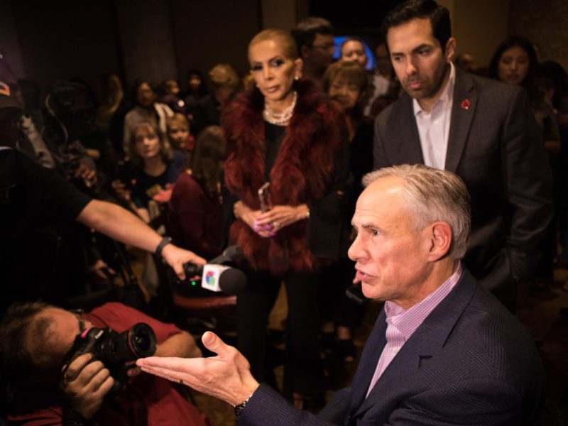 Governor Greg Abbott speaks in support of Hollywood Park Mayor Chris Fails, who is running for the state House District 122 seat, at a campaign event at Alamo Cafe.