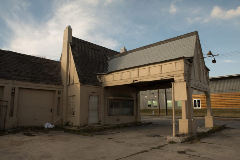 This structure is the remainder of the only Pure Oil gas station left in San Antonio.